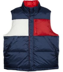 tommy hilfiger adaptive men's flag reversible vest with magnetic buttons