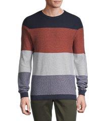 jack & jones men's jorflame colorblock sweater - blue heaven - size xl