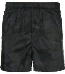 valentino camouflage print swim shorts - black