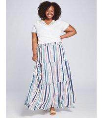 lane bryant women's striped tiered maxi skirt 18/20 multi painterly stripe