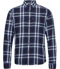 clive yarn dyed checked shirt skjorta casual blå lexington clothing