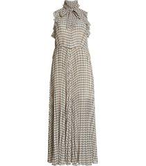 self-portrait check maxi dress, size 12 in monochrome at nordstrom