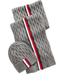 tommy hilfiger men's ski patrol honeycomb striped hat & scarf set