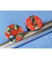 abalone inlay ring, black and red ring with natural paua shell inlay