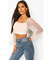 dobby mesh long sleeve square neck crop top, blush