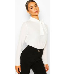 pussybow blouse, white