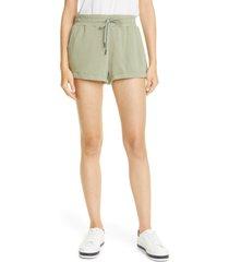 women's alice + olivia tandy cotton blend drawstring sweat shorts, size x-small - green