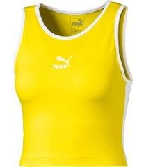 classics t7 cropped tanktop voor dames, geel, maat xs | puma