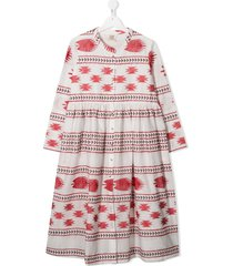 caffe' d'orzo embroidered flared dress