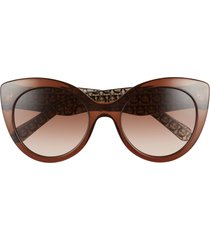 women's salvatore ferragamo classic 54mm gradient cat eye sunglasses - crystal brown/ brown gradient