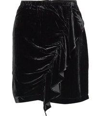 short velvet skirt with front drape kort kjol svart designers, remix
