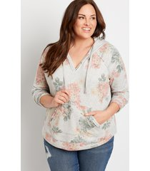maurices plus size womens gray floral pullover hoodie