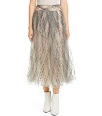women's brunello cucinelli sequin argyle tulle midi skirt