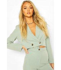 crop mix and match tailored blazer, sage