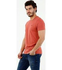 camiseta de hombre, cuello redondo, manga corta, 100% algodón, color naranja
