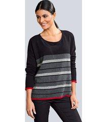 trui alba moda zwart::rood::grijs