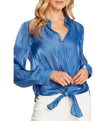 women's vince camuto tie front iridescent blouse, size xx-small - blue