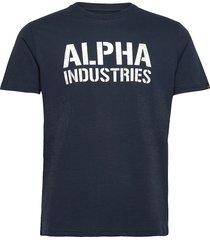 camo print t t-shirts short-sleeved blå alpha industries