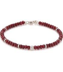 'nodo precious' ruby bead silver bracelet