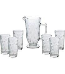 conjunto de 6 copos de 270ml e uma jarra de 1l de vidro nates