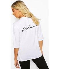 woman script back print oversized t-shirt, white