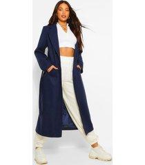 tall lange nepwollen jas met dubbele knopen, marineblauw