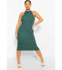 midi-jurk met extra geribbelde halterhals, smaragd