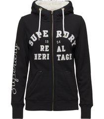aria applique ziphood hoodie trui zwart superdry