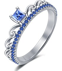 0.40ctw sapphire 14k white gold finish solitaire with accents wedding ring