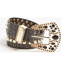 pasek w print skóry krokodyla z biżuteryjnymi aplikacjami