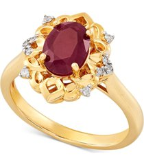 certified ruby (1-5/8 ct. t.w.) & diamond (1/20 ct. t.w.) ring in 14k gold