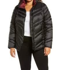 plus size women's sam edelman chevron quilted jacket, size 3x - black