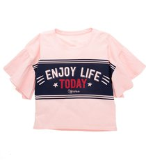 camiseta manga corta rosado  offcorss