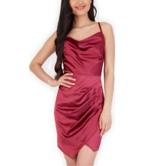 bcx juniors' ruched satin bodycon dress