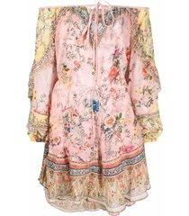 camilla floral-print drop-shoulder dress - pink