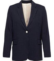 d2. stretch linen straight blazer blazers over d blazers blå gant
