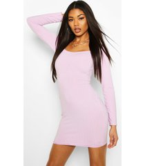 jumbo rib sqaure neck bodycon dress, lilac