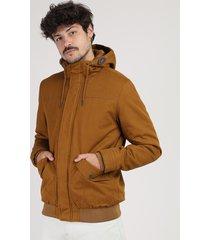 jaqueta masculina com capuz caramelo