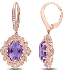 amethyst (4 3/8 ct. t.w.) and diamond (3/8 ct. t.w.) floral vintage earrings in 14k rose gold