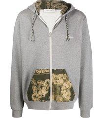 golden goose abstract print pocket hoodie - grey