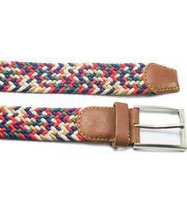 cinturón trenzado tela verde/rojo/beige