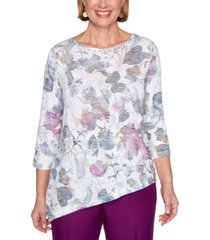 alfred dunner petite printed asymmetrical top