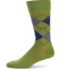 boss hugo boss men's john argyle print wool-blend crew socks - bright green