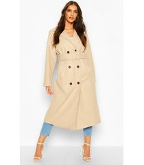 covered buckle belted wool look trench coat, stone