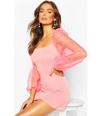 knitted organza puff sleeve dress, rose