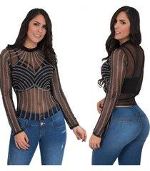 blusa manga larga en mayatex onlipynk negra