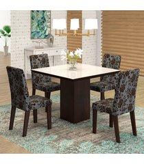 mesa de jantar 4 lugares geisa venus ameixa/cobre/branco - viero móveis