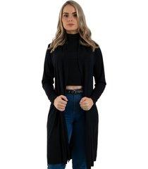 cardigan kimono diluxo liso preto