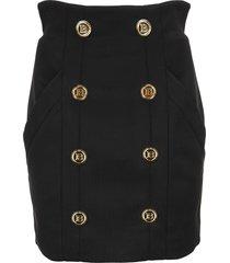 balmain high waisted mini skirt with gold buttons