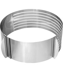 conjunto forma anel aro cortador fatiador tamanho regulável corte 7 camadas bolo confeiteiro 15 - 20 cm thata esportes - kanui